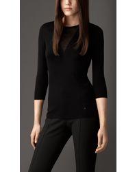 Burberry | Black Sheer Panel Silk Cotton Sweater | Lyst