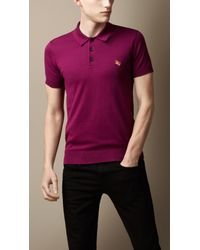 Burberry   Purple Pima Cotton Polo Shirt for Men   Lyst