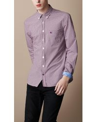 Burberry Brit | Purple Gingham Button-down Shirt for Men | Lyst