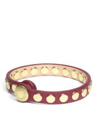 COACH - Red Skinny Stud Leather Bracelet - Lyst