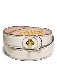 COACH - White Double Wrap Enamel Turnlock Bracelet - Lyst