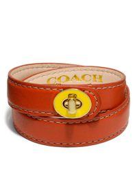 COACH - Red Double Wrap Enamel Turnlock Bracelet - Lyst