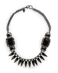 Mango | Black Touch Spikes And Stones Necklace | Lyst