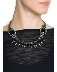 Mango - Black Touch Spikes And Stones Necklace - Lyst