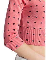 Mango - Red Butterfly Print Knit Shrug - Lyst