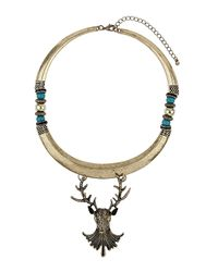 TOPSHOP - Metallic Stag Bar Necklace - Lyst
