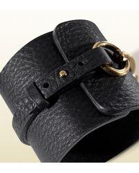 Gucci | Bracelet in Black Leather with Metal Horsebit Motif | Lyst