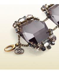 Gucci - Bracelet in Metal with Black Resin Black and Grey Strass - Lyst
