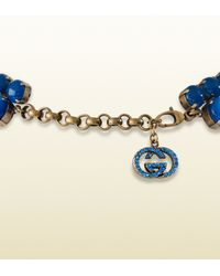 Gucci   Necklace with Blue Flowers Motif   Lyst