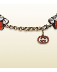Gucci | Orange Necklace with Coral Flowers Motif | Lyst