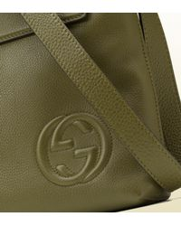 Gucci - Green Leather Messenger Bag for Men - Lyst