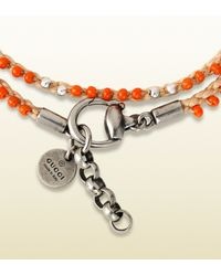 Gucci | Bracelet in Sterling Silver and Cord with Orange Colored Glass Beads for Men | Lyst