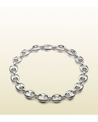 Gucci - Metallic Necklace In Sterling Silver With Marina Chain Motif - Lyst