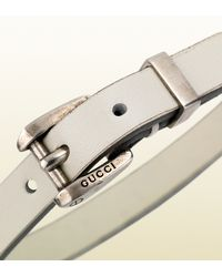 Gucci | Bracelet in White Leather with Palladium Buckle for Men | Lyst