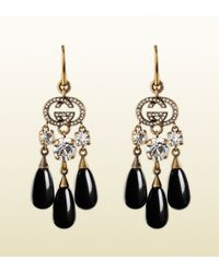Gucci | Earrings in Metal with White Strass and Black Glass | Lyst
