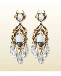 Gucci - Metallic Earrings with White Pendants - Lyst