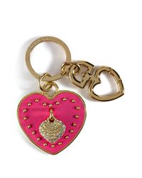 Juicy Couture | Passion Pink Leather Heart Key Fob | Lyst
