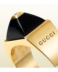 Gucci | Ring in 18k Yellow Gold Diamonds and Black Chalcedony | Lyst