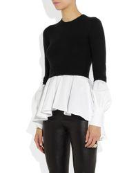 Alexander McQueen - Black Cotton Shirt trimmed Wool-blend Sweater - Lyst