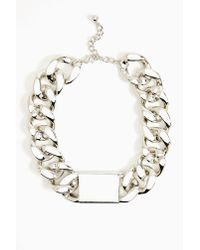 Nasty Gal - Metallic Chunky Id Necklace Silver - Lyst