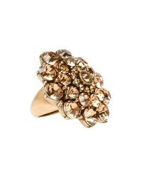 Oscar de la Renta | Metallic Crystal Flower Ring | Lyst