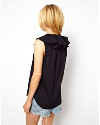ASOS   Black Sleeveless Shirt with Oversized Ruffle Collar   Lyst