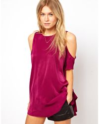 ASOS | Red Tunic with Cold Shoulder | Lyst