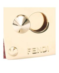 Fendi - Red Crocodile Leather Cuff with Studded Logo Closure - Lyst