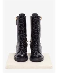 Giuseppe Zanotti   Black 'blok' Spike Back Lace-up Leather Boots   Lyst