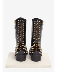 Giuseppe Zanotti | Black 'blok' Spike Back Lace-up Leather Boots | Lyst