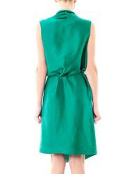 Lanvin - Green Draped Satin Wrap Dress - Lyst