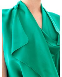 Lanvin - Green Draped Satin Wrap Dress - Lyst