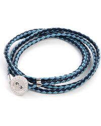 Tateossian | Blue Buttonplate Plaitedleather Bracelet for Men | Lyst