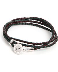 Tateossian - Green Buttonplate Plaited Leather Bracelet for Men - Lyst