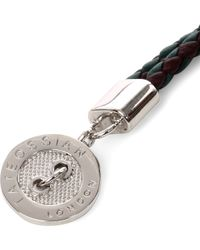 Tateossian | Green Buttonplate Plaited Leather Bracelet for Men | Lyst