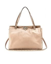Valentino | Natural Rockstud Leather Tote | Lyst