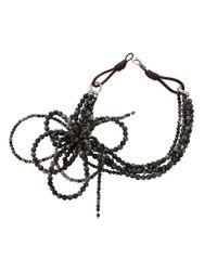 Brunello Cucinelli - Black Riolite Bow Necklace - Lyst
