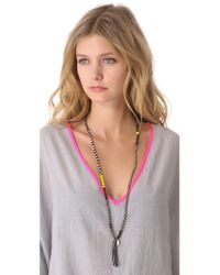 Chan Luu - Black Beaded Necklace with Tassel - Lyst