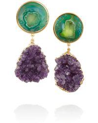 Dara Ettinger | Green Celeste Goldplated Amethyst and Geode Earrings | Lyst