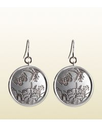 Gucci | Metallic Flora Earrings In Sterling Silver | Lyst