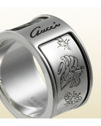 Gucci | Metallic Flora Ring In Sterling Silver for Men | Lyst