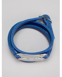 McQ - Blue Leather Razor Bracelet - Lyst