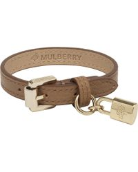 Mulberry - Brown Padlock Charm Leather Bracelet - Lyst