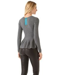 Rebecca Taylor - Gray Peplum Pullover - Lyst