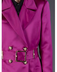 Versace   Purple Double Breasted Trench Coat   Lyst