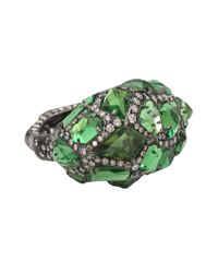 Arunashi | Green Tsavorite Rock Ring with Diamonds | Lyst