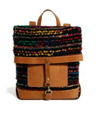 ASOS - Multicolor Backpack with Stripey Weave and Leather - Lyst