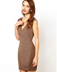 French Connection - Brown Bodycon Dress with Ribbed Pannels - Lyst