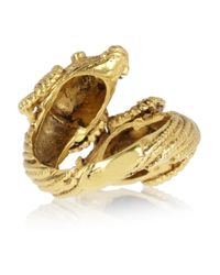 Mallarino - Metallic Double Ram Goldplated Ring - Lyst