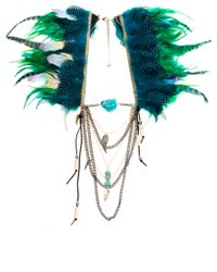 River Island | Metallic Feather Cape Necklace | Lyst